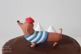 Feines Handwerk Sausage Dog, Sausage Dog Cake, Dackel Torte, Dackel, Dachshund, Ganache, Baiser, Paris, Baskenmütze, Fondant, Tutorial, Anleitung, Gumpaste