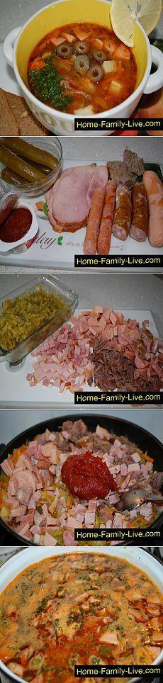 Солянка сборная мясная - пошаговый фоторецепт - суп с мясом и копченостями