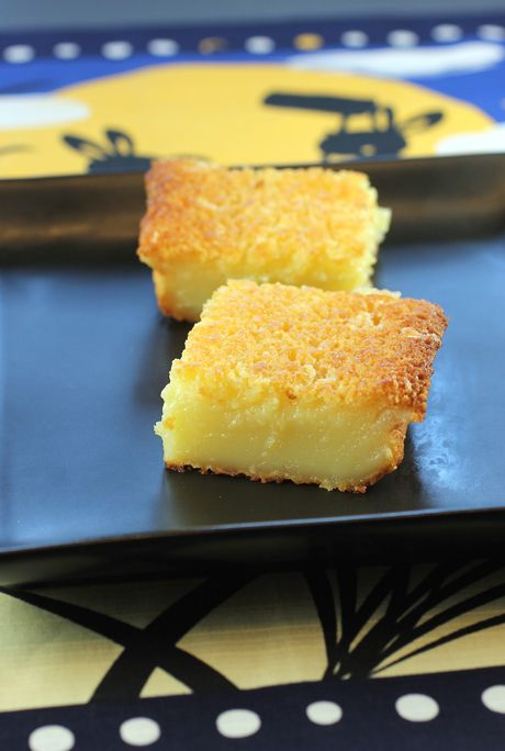 Butter mochi   I tried some mochi cake tonight for the first time and I am in love. The one I tried had pie cherries baked into the batter. So good!! (em)