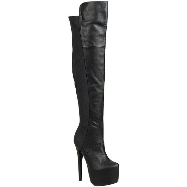 LolliCouture black 6 inch heel hidden chunky platform over the knee... ($17) ❤ liked on Polyvore featuring shoes, boots, black, over-the-knee high-heel boots, thigh high platform boots, over the knee stiletto boots, black platform boots and black high heel boots