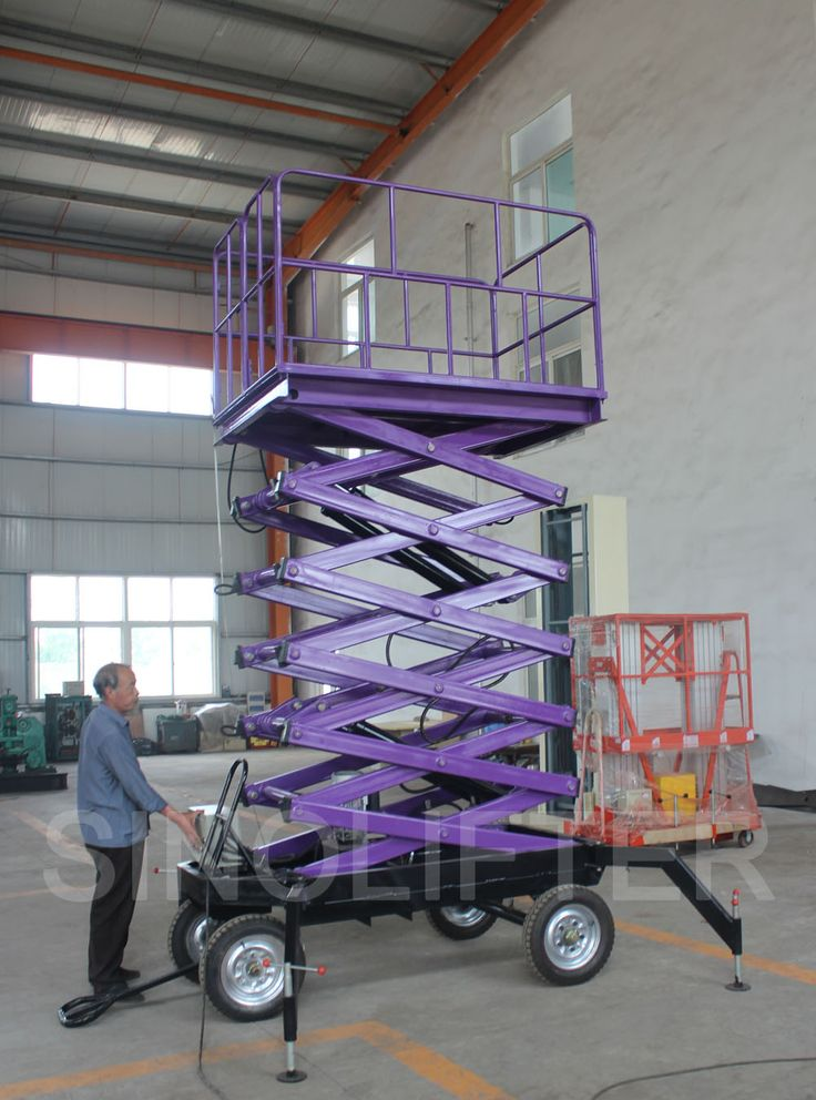 Mobile man lift provides 8m safe height. Mostly used for aerial clean, maintain in warehouse, workshop and station etc. (http://sinolifter.com/mobile-scissor-lift/mobile-lift-8m-300kg.html)