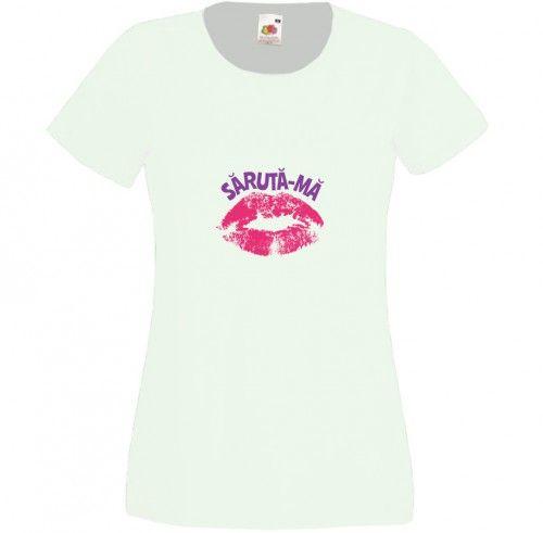 Saruta-ma pentru ca sunt.... Aici poti introduce mesajul tau. Tricou personalizabil pentru femei de culoare alba. Tricouri personalizate sexy