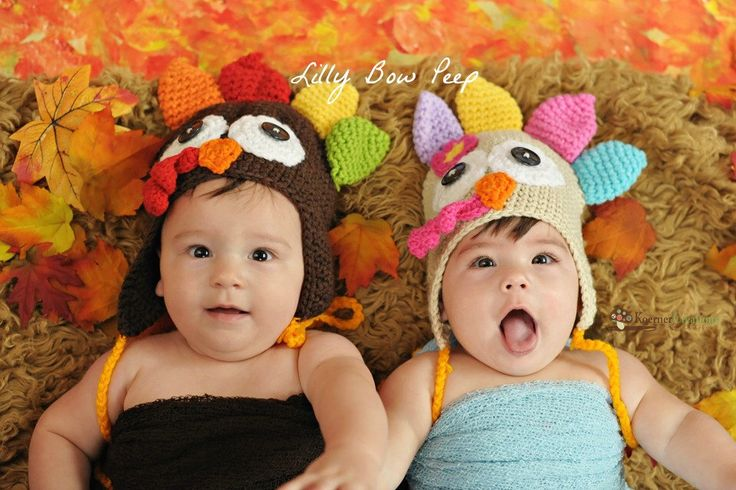 Turkey Twin Hat SET-Crochet Turkey Hats, Thanksgiving Hat ,Baby Hat ,Newborn,Toddler,Thanksgiving Outfit-Baby Girl Clothes-Girl AND Boy Hats by LillyBowPeep on Etsy https://www.etsy.com/listing/204814252/turkey-twin-hat-set-crochet-turkey-hats