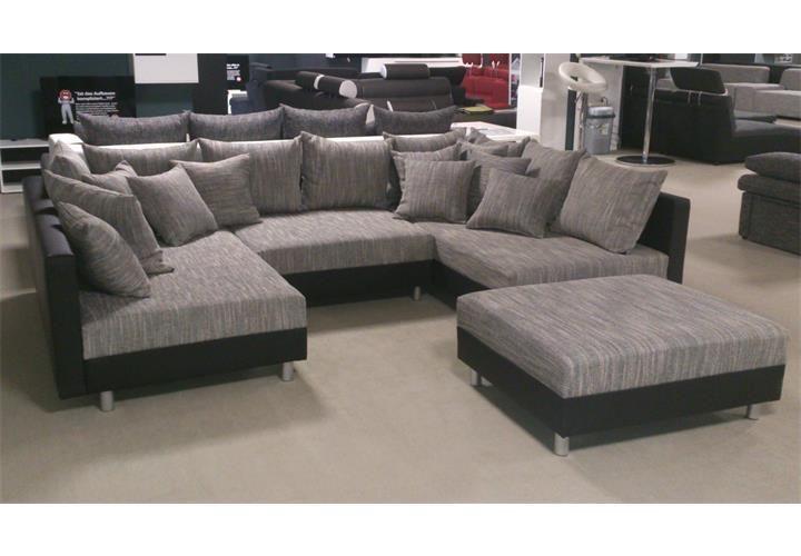 Wohnlandschaft Claudia Xxl Ecksofa Couch Sofa Mit Hocker Schwarz Und Graubeige Ebay Wohnen Moderne Wohnzimmergestaltung Wohnzimmer Sofa