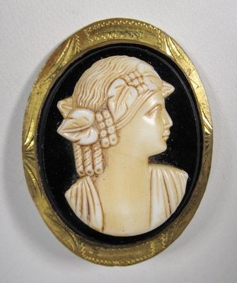 I Want A Pink Cameo Brooch Painting Blue
