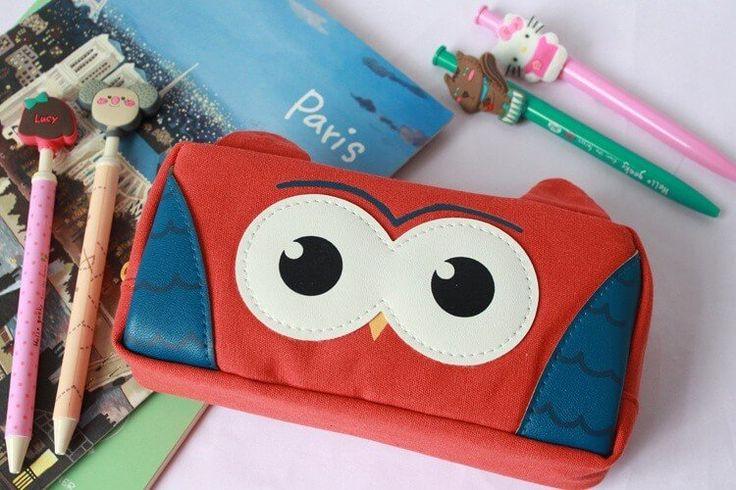 Dream Owl Pencil Case (Red) #Canvas #Pencil-Case #Red