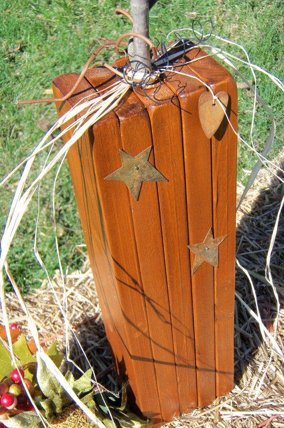 Primitive wooden pumpkin handmade one pumpkin by for Pumpkin stems for crafts
