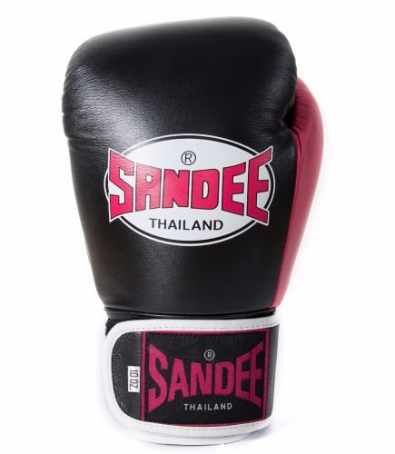 Sandee Neon Velcro Leather Boxing Gloves - Black & Pink
