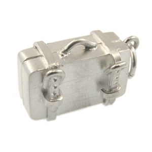 Sterling Silver Suitcase Charm. Handmade by Peter Cameron at Cameron Jewellery