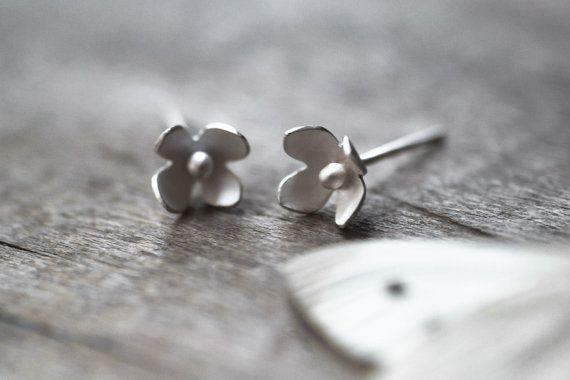 Items similar to Flower Stud Earrings, Sterling Flower Earrings, Flower Studs, Flower Posts, Wedding, Woodland Earrings, Nature Jewelry, Sterling Flowers on Etsy