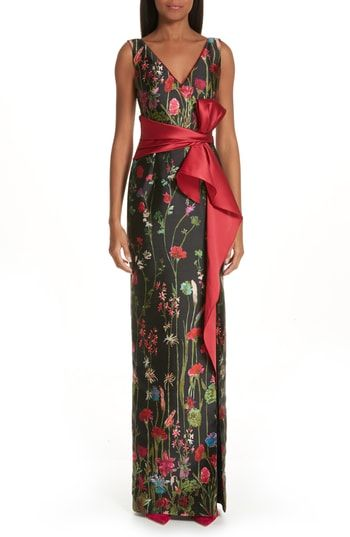 4a7adf12 Marchesa Notte Bow Belt Floral Print Column Gown in 2019 | Most ...