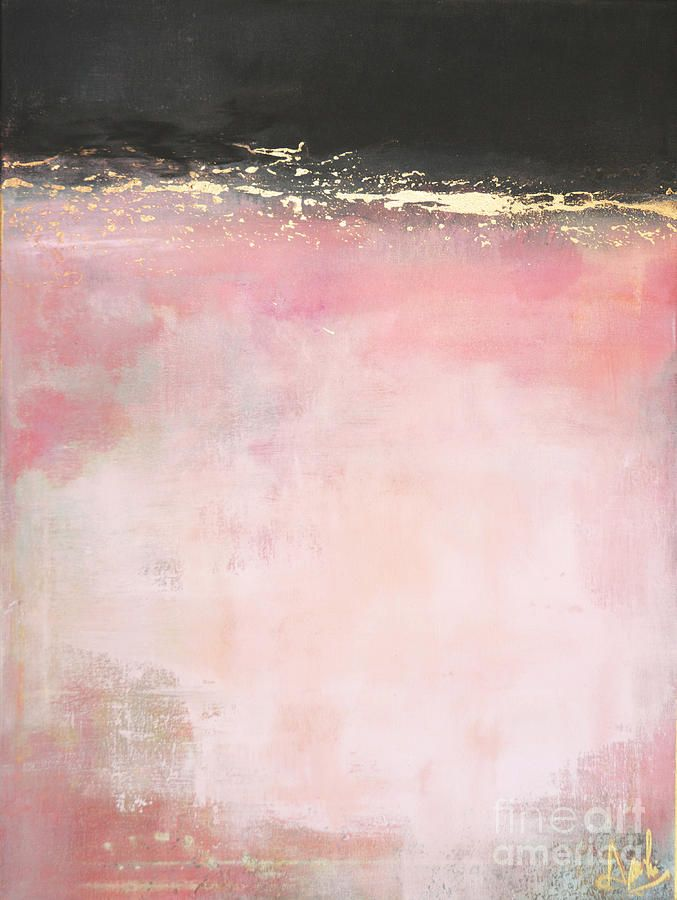Art - Interior Design and Decor - Pink Light - Abstract In Pink Gold And Black Painting by Anahi DeCanio for ArtyZen Studios