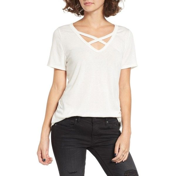 Women's Socialite Strap Front Tee featuring polyvore, women's fashion, clothing, tops, t-shirts, cream, strappy top, white v neck tee, white t shirt, draped tops and v neck t shirts
