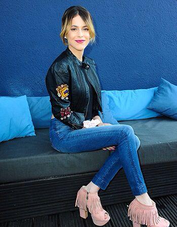 jean,botte tros belle rose a franjes vest en jean
