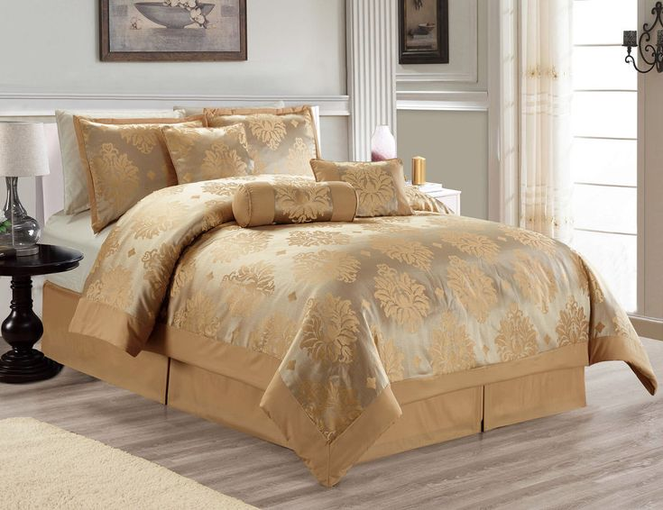 Hillsbro 7 Piece Heritage Gold Comforter Set King Size Pillows Shams #Hillsbro