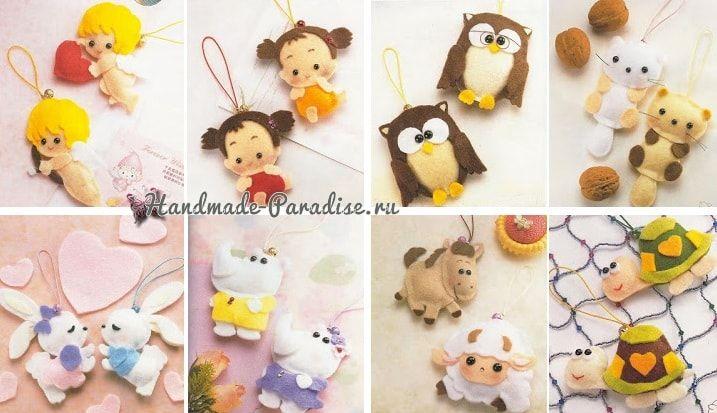 Ангелы, куколки и другие игрушки из фетра. Шаблоны игрушек для создания забавных подвесок на радость малышам. Ниже представлены шаблоны на 27 игрушек.