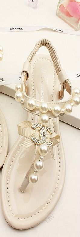 White pearl sandals