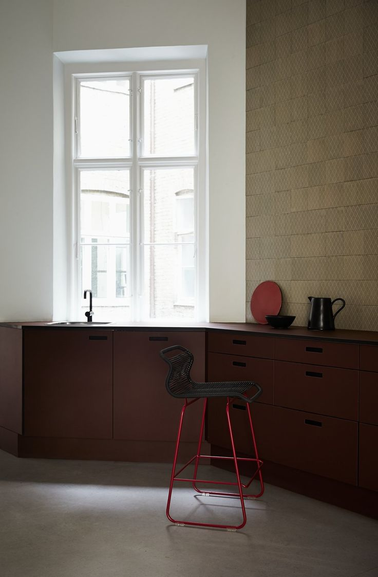 Panton One Kitchen. Perfect bar stool for socializing in the kitchen. #montanafurniture #design #furniture #danishdesign #kitchen #barstool #vernerpanton #pantononebar