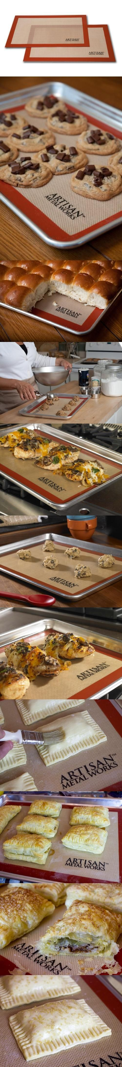 Artisan (2 pk.) Non-Stick Silicon Baking Mat Set. 16 5/8 x 11 Fits half size baking sheets 18 x 13. Set includes two mats.. Includes one professional grade 18 gauge aluminum baking sheet and a durable premium silicone baking mat. Set provides outstanding heat conductivity; FDA and LFGB approved silicone. Artisan Silicone baking mats can withstand temperatures from -40 degrees Fahrenheit to 480... #Artisan_Metal_Works #Kitchen