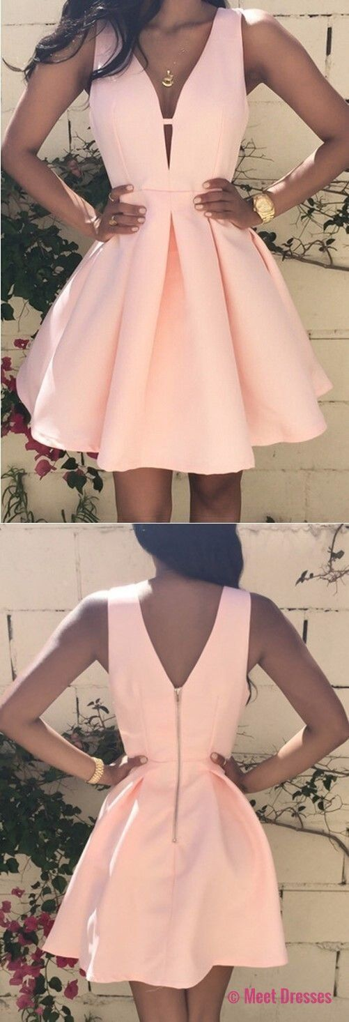 v neck homecoming dresses,pearl pink homecoming dresses,short homecoming dresses PD20186103