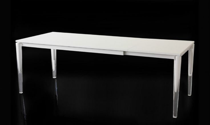 Tables/Extending table. Material: frame in steel tube painted in polyester powder. Legs in bi-injection moulded polymethylmethacrylate (PMMA). Tops and leaf in painted MDF.