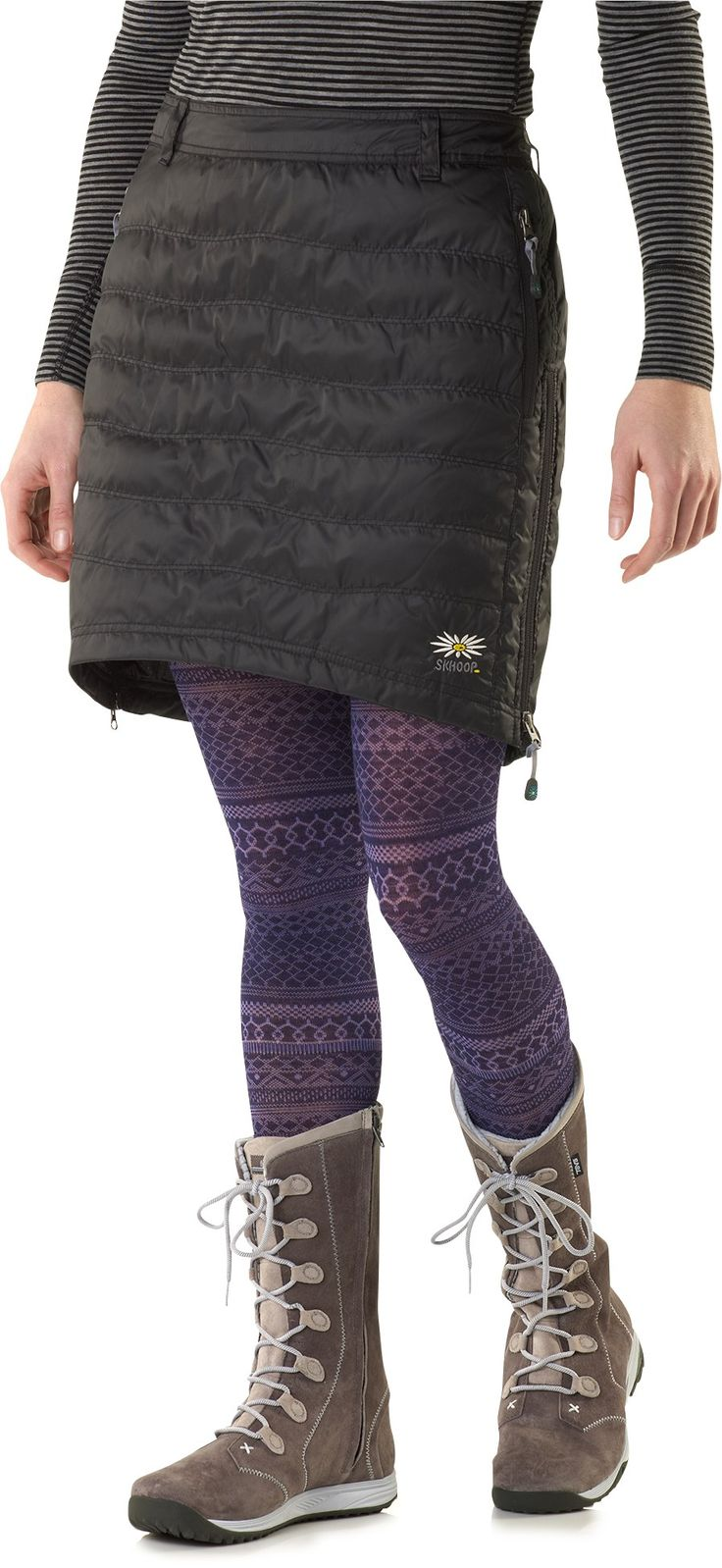 Skhoop Short Down Skirt - I'd get it in plum.  I have the long one for those extra cold days and just hanging around, but the short one would be great for activities like cross country skiing and ice skating!