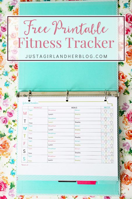 Love this free printable fitness tracker for helping me keep track of my workouts and healthy eating! Click through to the post to get the pretty printable! | JustAGirlAndHerBlog.com