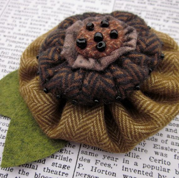 Flannel YoYo Flower Brooch by CraftydsCreations on Etsy, $12.95