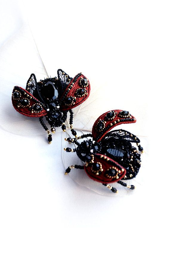 Ladybug brooch red black handcrafted Lady cow jewelry Ladybird beetle insect art Bridesmaid gift pin small Ladybug brooch Christmas gift