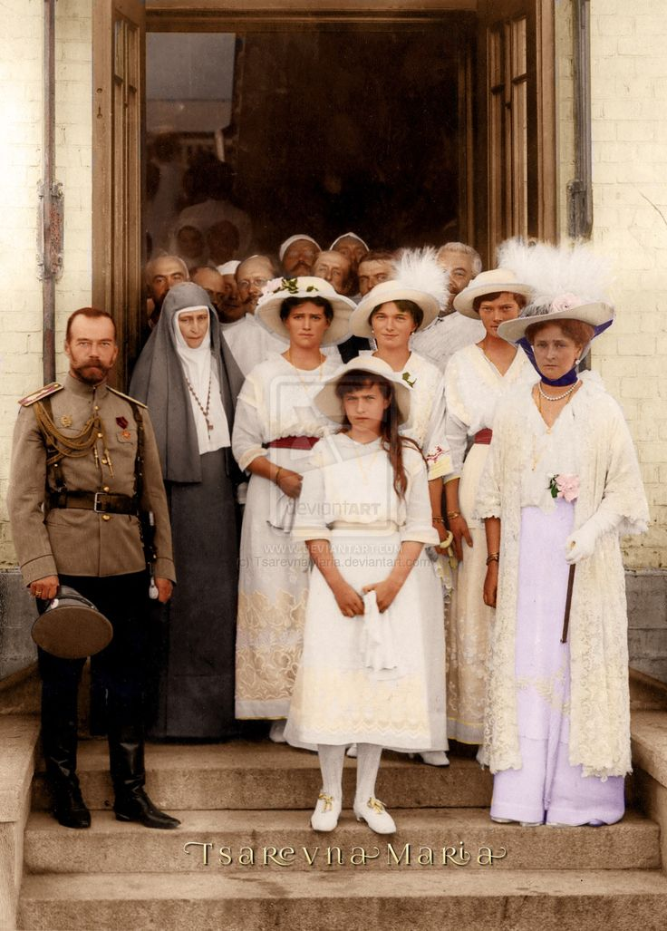 Colorized photo of HIM Tsar Nicholas II with his wife, Alexandra Feodorovna, and sister-in-law Grand Duchess Elisabeth Feodorovna (in her nun habit), accompanied by TIH Grand Duchesses Maria, Anastasia, Olga and Tatiana Nikolaevna around 1915