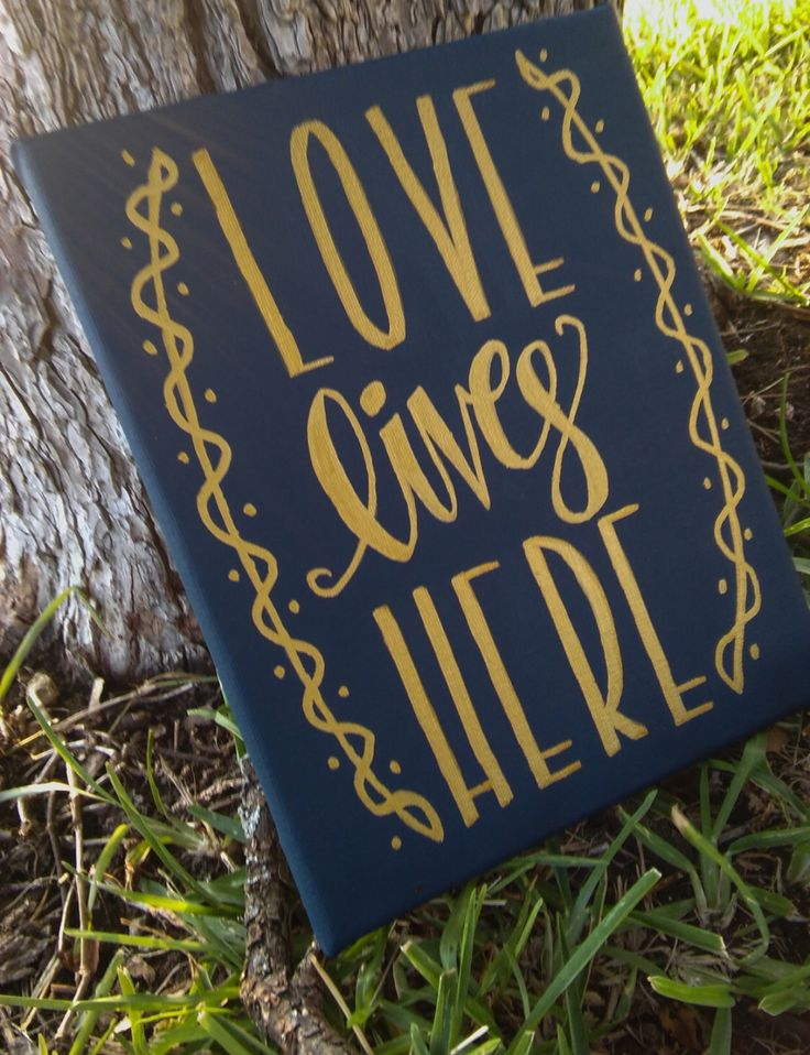 "8"" x 10"" Hand Painted ""Love Lives Here"" Canvas Art Home Decor                                                                                                                                                                                 More"