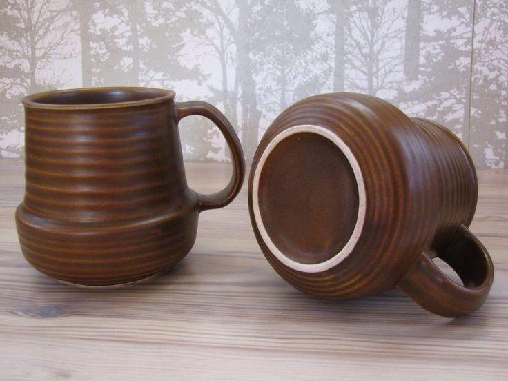 ARABIA WARE FINLAND RUSKA KAARNA GORAN BLACK D HANDLE BEER COFFEE MUG VINTAGE