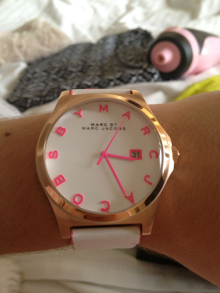 MARC by Marc Jacobs neon pink and gold watch