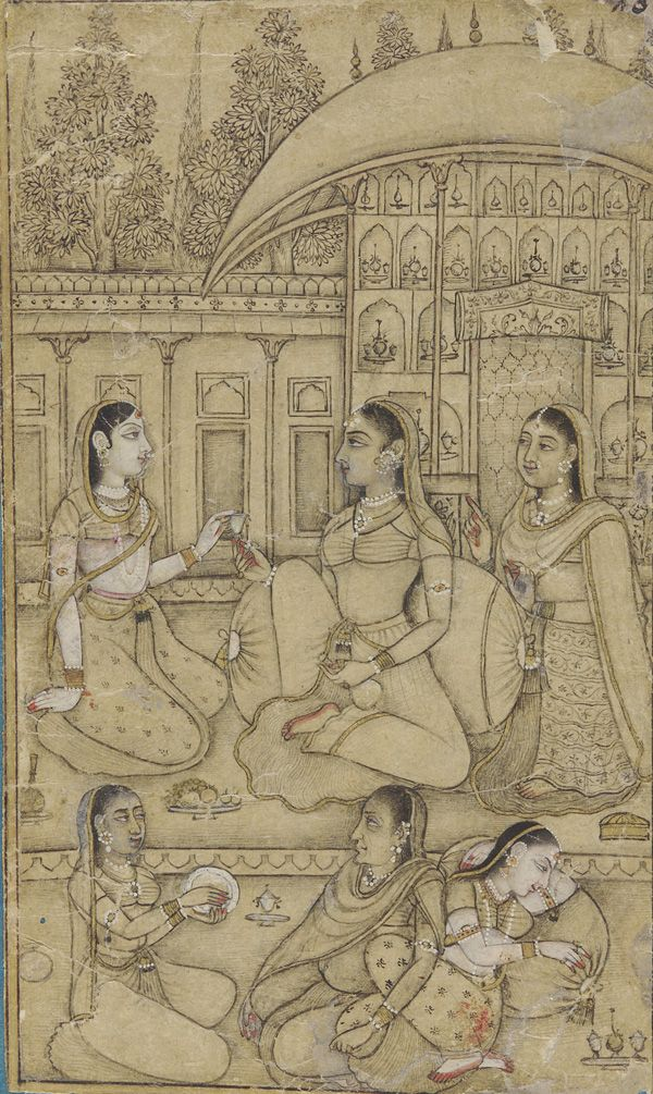 A lady and attendants seated in a courtyard  early 18th century  Mughal dynasty