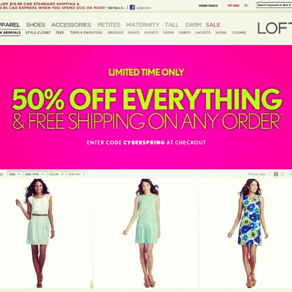 Deal Alert (US/CDN): Loft Limited Time Only  50% Off Everything + Free Shipping On Any Order. Happy Shopping! #deal #alert #us #canada #loft #limitedtime #freeshipping #shopping #clothing #women #fashion