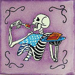 Experience the true spirit of the Day of the Dead with these beautifully handcrafted Talavera tiles! Each tile has a charming depiction of the afterlife, and makes an excellent gift for Day of the Dead or Halloween lovers. Or install these decorative tiles in your kitchen or bath to create a colorful addition to your home decor. Talavera tiles also work great for covering the risers on a staircase or the walls of a patio, and left-over tiles make excellent coasters and trivets. Buy by the…
