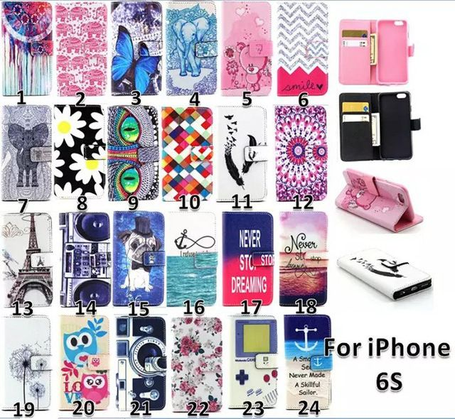 Caser For Apple iPhone 6 Case Luxury Fashion Pattern PU Leather Wallet Cover Case For iPhone 6s Case PU Leather + Silicon TPU