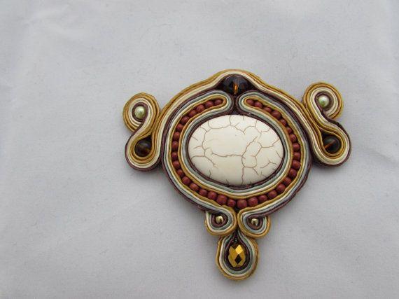 Brown - gold handmade soutache brooch