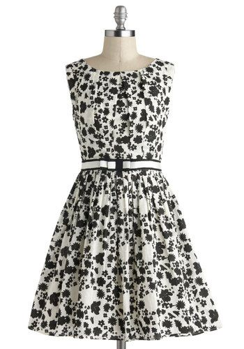 101 Carnations Dress - Black, Floral, Bows, Belted, Party, Vintage Inspired, Sleeveless, Mid-length, White, Fit & Flare, Statement, Graduation
