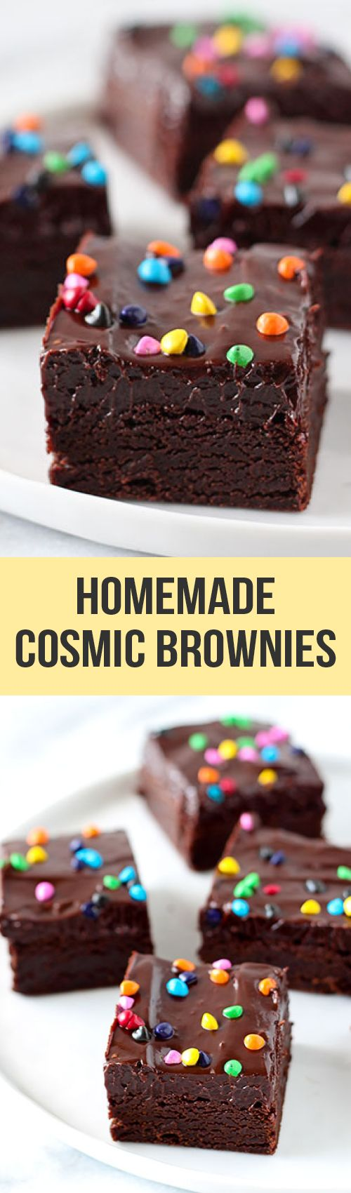 This copycat recipe for Cosmic Brownies is ultra rich, fudgy, and chewy just like the kind you buy at the store but oh so much better with no preservatives!