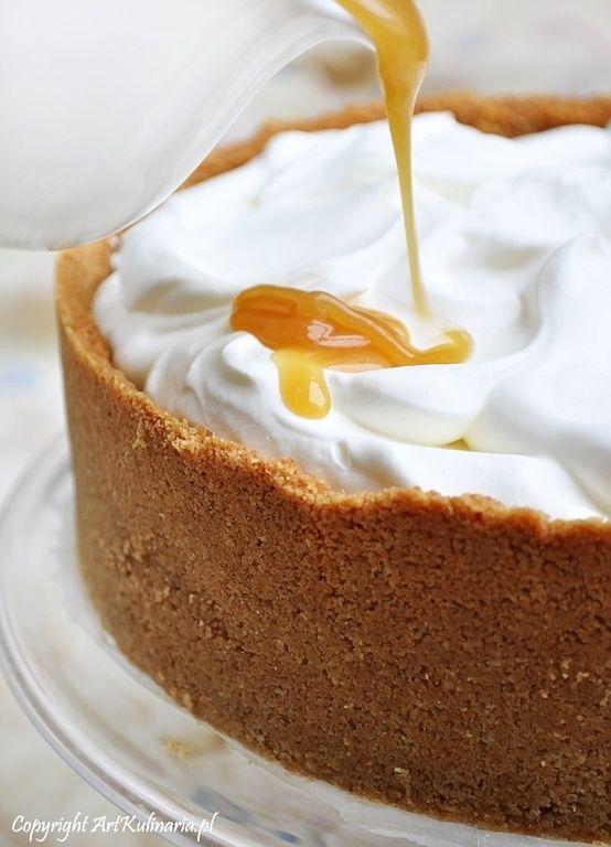 vanilla cheesecake with salted caramel