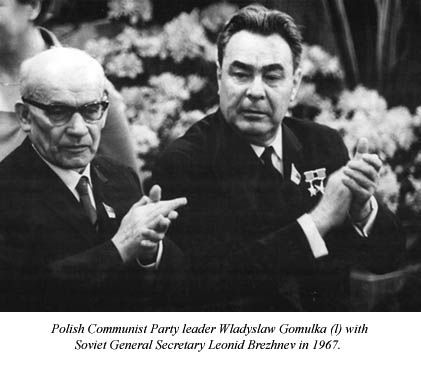 "The head of the United Polish Workers' Party Wladyslaw Gomulka, on whom the Soviet invasion of Hungary made a deep impression,soon began to crack down on the liberalization unleashed by the ""Polish October,"" 1956. He reimposed censorship of the press in August 1957, and took away the power of Workers' Councils in the factories, established in Oct. 1956.  He turned against the R.C.Church in 1959 by ending the teaching of religion in the schools, but allowed it to continueafter school hours"