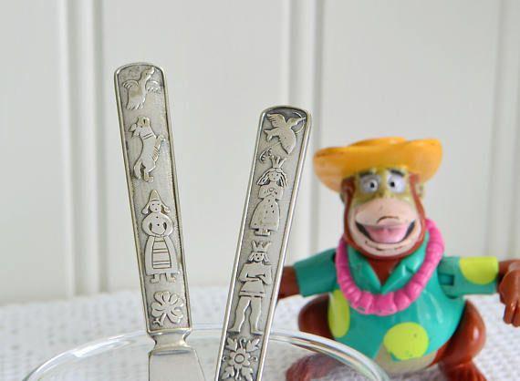 Mismatching kids flatware, knife and fork set, vintage childrens cutlery