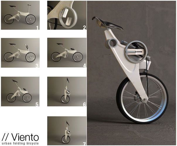 Viento: folding cycle, super-formed aluminum frame, hubless pedal system, hollow main axis, neatly folded look.