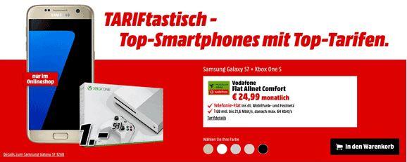 Schnäppchen Vertrag Samsung Galaxy S7 + Xbox One S für 1,00€ zum Vertrag Vodafone Flat Allnet Comfort im Vodafone-Netz mit 64,25€ Ersparnis.