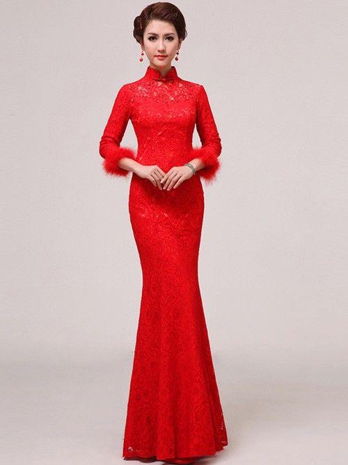 Red Long Sleeve Lace Cheongsam / Qipao / Chinese Wedding Dress