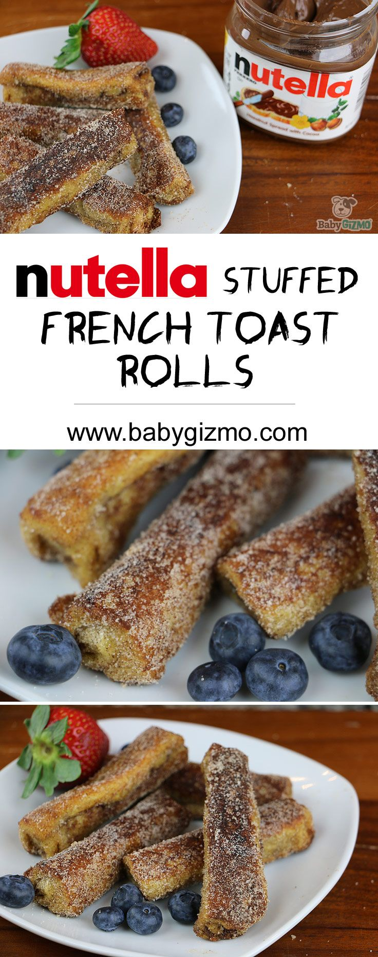 These Nutella Stuffed French Toast Rolls are perfect for breakfast, dessert or even a snack! Plus, they are super easy to make! #breakfast #dessert #nutella