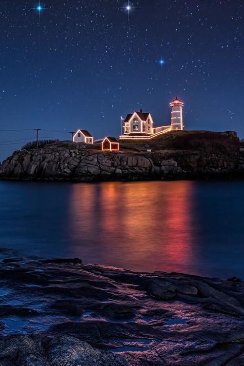 Cape Neddick Christmas Lighthouse in Cape Neddick, York, Maine