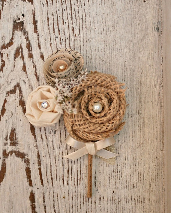 Rustic Groom S Boutonniere Burlap Flower Pin Ivory