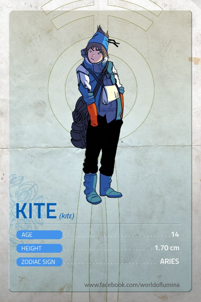 Kite is 14 years old. He's a reckless, lively young boy who loves Parkour. His juvenility leads him too often in serious trouble. His impulsive nature is however balanced by his pure heart and a strong sense of altruism. He adores his sister Miriam.